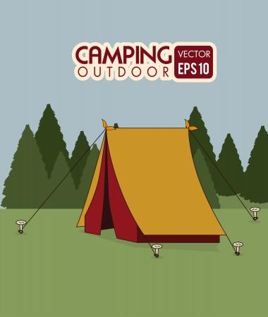 camping design over landscape background vector illustration Vector