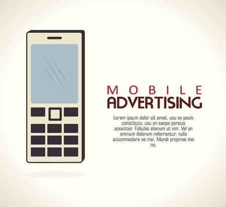 mobile advertising over gray background vector illustration Vector
