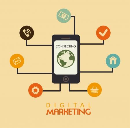 digital marketing over pink  background vector illustration Vector