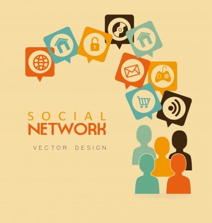 advertising network: social network over pink background vector illustration