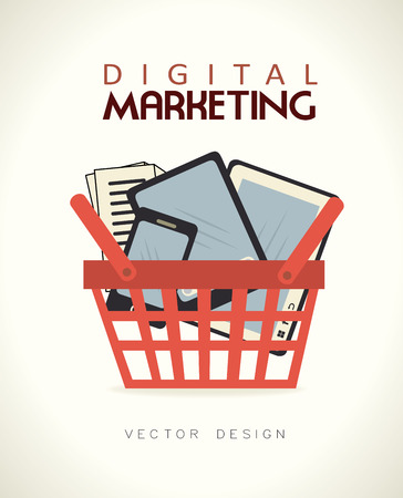 digital marketing over beige background vector illustration Vector
