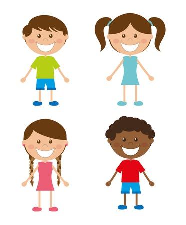 human face: kids design over white  background vector illustration  Illustration
