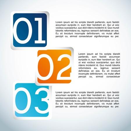 sequential: numbers design over blue background vector illustration Illustration