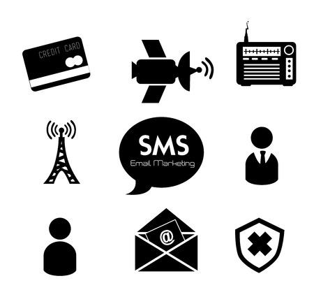 white bacground: marketing por correo electr�nico en blanco Ilustraci�n vectorial Fundamentos