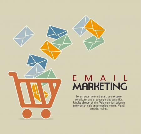 email marketing over beige bacground vector illustration Illustration