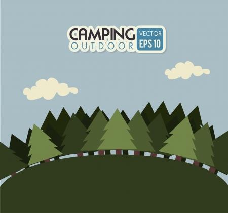 camping design over  sky background vector illustration Vector