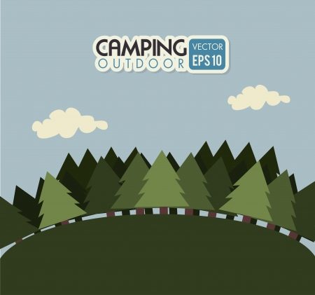 excursions: camping design over  sky background vector illustration