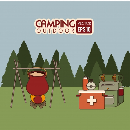 excursions: camping design over field  background vector illustration