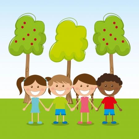 camaraderie: kids design over sky background vector illustration Illustration