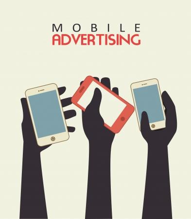 mobile advertising over beige background vector illustration