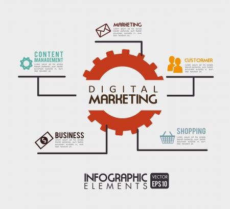 mercadotecnia: marketing digital sobre fondo beige ilustración vectorial