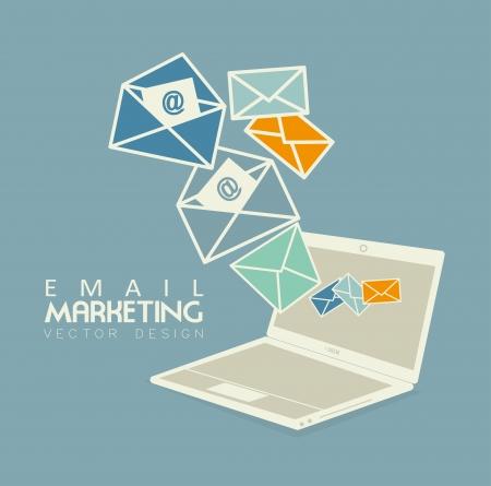 folyik: E-mail marketing felett kék bacground vektoros illusztráció