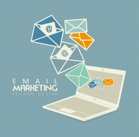 spam mail: email marketing over blue bacground vector illustration Illustration