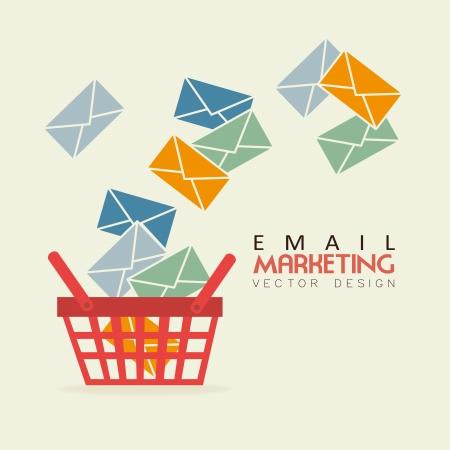 white bacground: email marketing over white bacground vector illustration