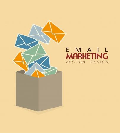 Marketing por correo electrónico sobre rosa ilustración vectorial Fundamentos Foto de archivo - 24862347