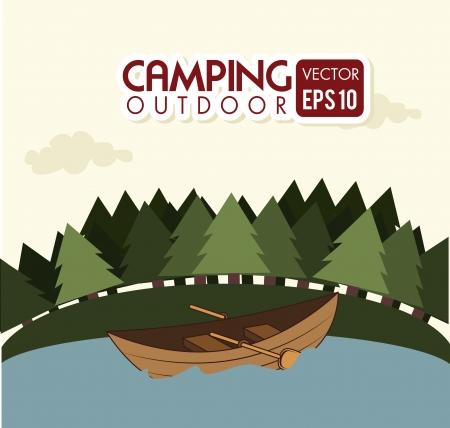 excursions: camping design over landscape background vector illustration
