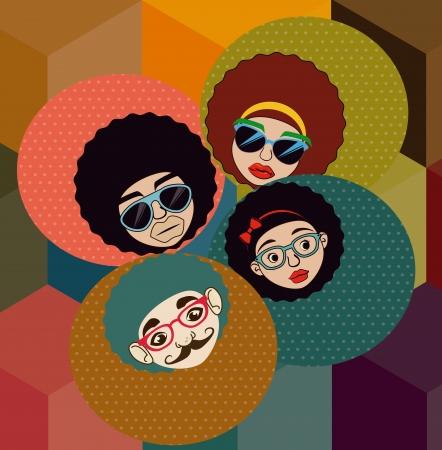 afro style design over pattern background vector illustration