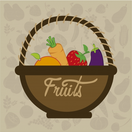 fruits design  over pattern  background vector illustration Vector