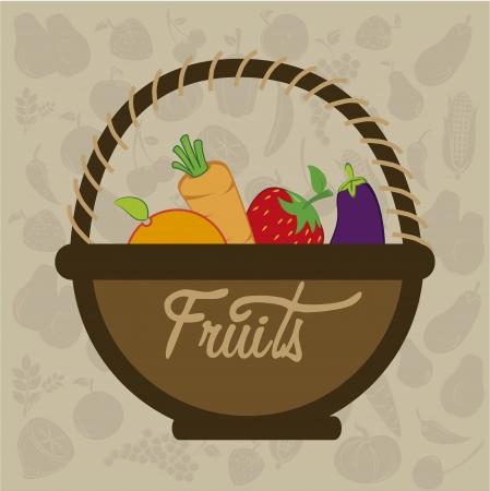 fruits design  over pattern  background vector illustration