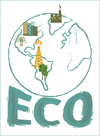 enviromental: eco design over  background vector illustration