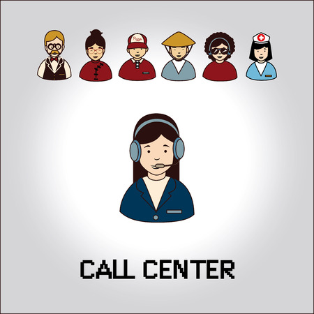 call centre girl: receptionist with phone over gray background  vector illustration  Illustration