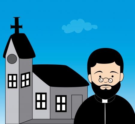 pastor: priest design over blue background vector illustration