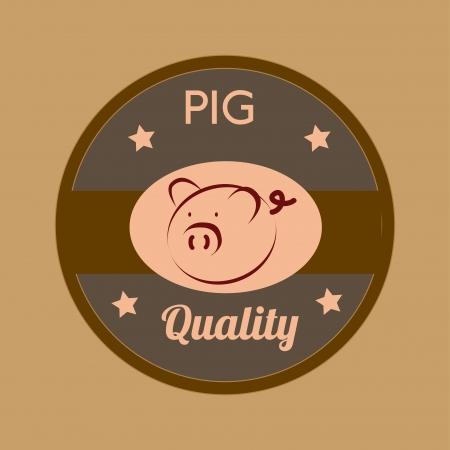 smyle: pig  icon over brown background vector illustration  Illustration