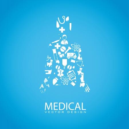 community service: medical dsign over blue background vector illustration   Illustration