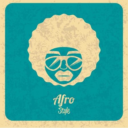 afro style design over blue background vector illustration
