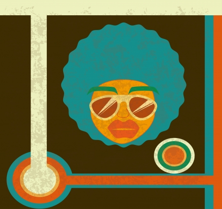afro style design over brown background vector illustration  Vector