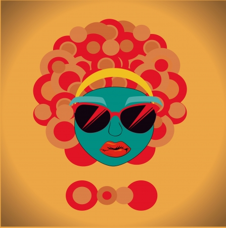afro style design over yellow  background vector illustration  Vector