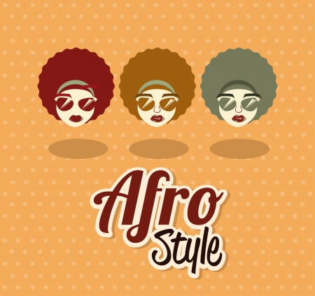 afro style design over pink   background vector illustration  Vector