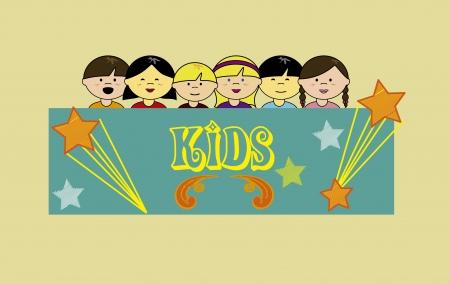 camaraderie: kids design over cream  background vector illustration