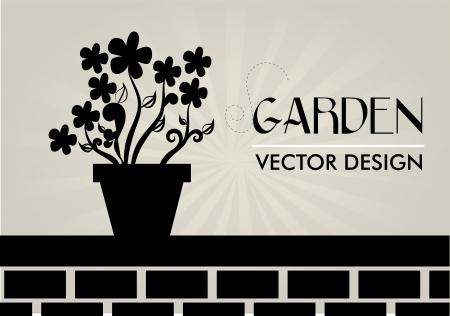 obituary: garden design over gray  background vector illustration