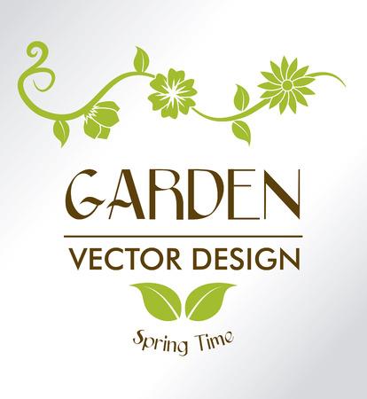 garden design: disegno del giardino su sfondo grigio illustrazione vettoriale Vettoriali