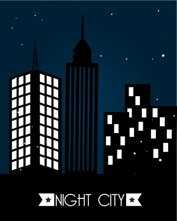 sky night: city design over sky night  background vector illustration