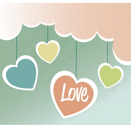love design over cloudy  background vector illustration   Vector