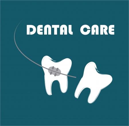 prophylaxe: Zahnpflege �ber blauem Hintergrund Vektor-Illustration