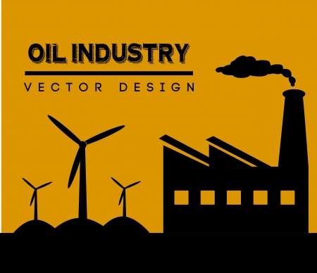 combust: oil industry over sunset background vector illustration