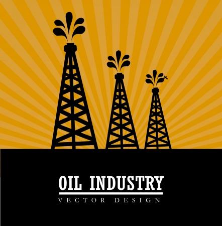oil industry over sunset background vector illustration