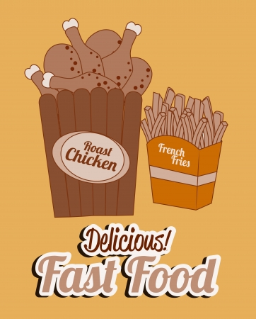 fast food over  pink background vector illustration Vector