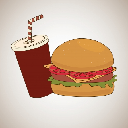 fast food over  gray background illustration Vector