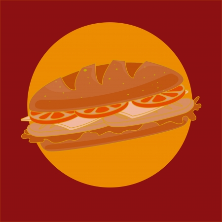fast food over red  background vector illustration Vector
