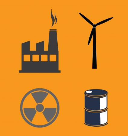 combust: oil industry over orange  background illustration