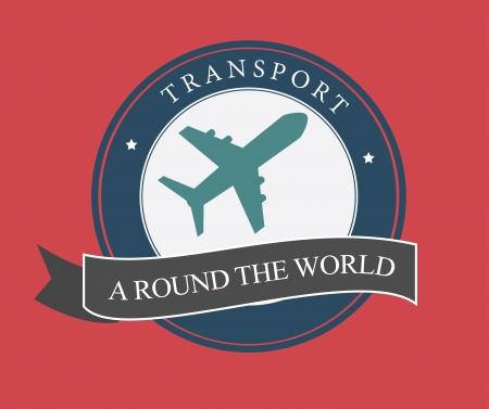 airplain: transport design over pink  background vector illustration