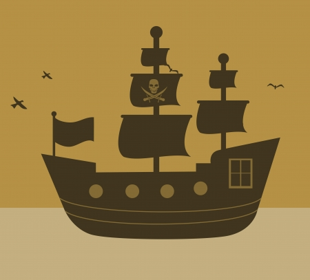 pirate design over  sky background vector illustration
