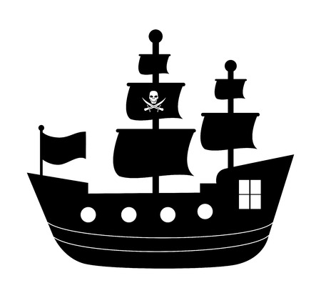 ships at sea: pirate design over  white background vector illustration