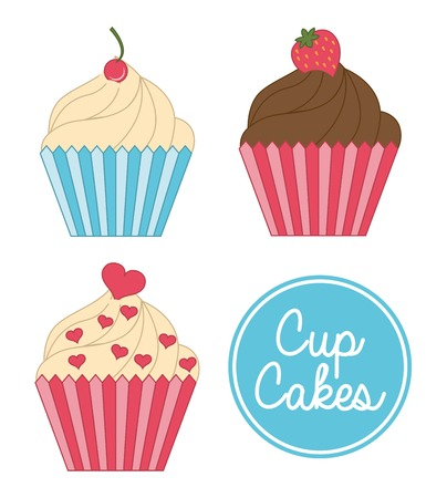cup cake birthday over white background vector illustration   Vector