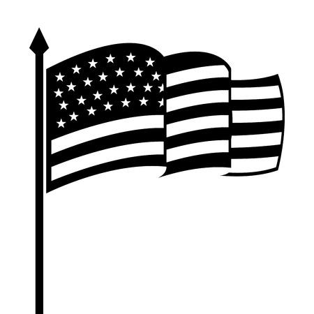 black flag: usa design over white  background vector illustration