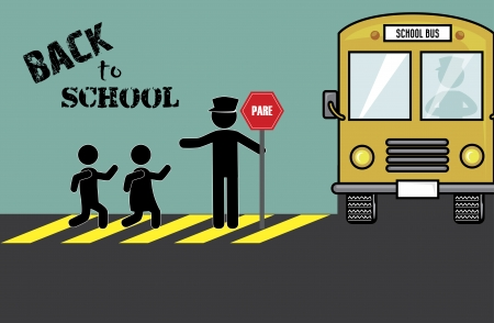 trafic stop: back to school over blue  background vector illustration